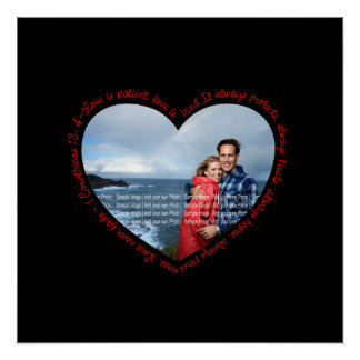 Love is Patient Photo Heart Black & Red