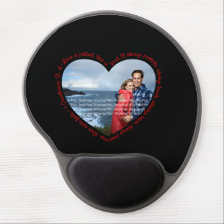 Love is Patient Photo Heart Black & Red Gel Mouse Mat
