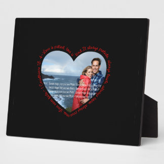 Love is Patient Photo Heart Black & Red Plaque