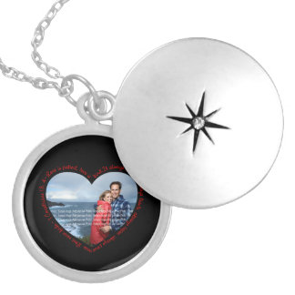 Love is Patient Photo Heart Black & Red Round Locket Necklace