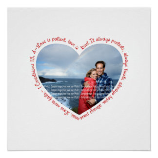 Love is Patient Photo Heart White & Red