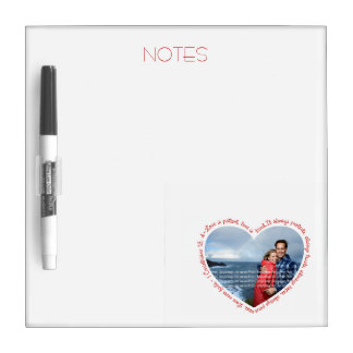 Love is Patient Photo Heart White & Red Dry Erase Board