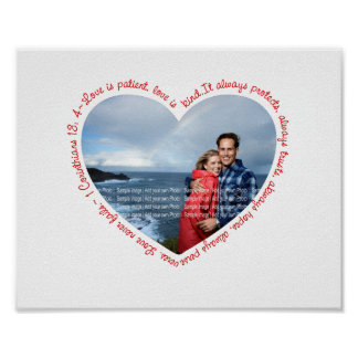 Love is Patient Photo Heart White & Red Poster