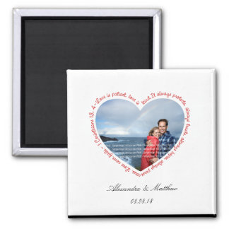 Love is Patient Photo Heart White & Red Square Magnet