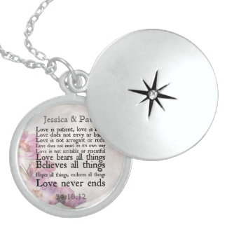 Love is Patient Purple Flower Silver Locket