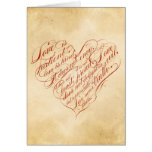 Love is patient... red calligraphic heart greeting card