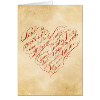 Love is patient... red calligraphic heart cards