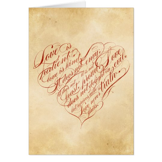 Love is Patient Red Calligraphic Heart Card