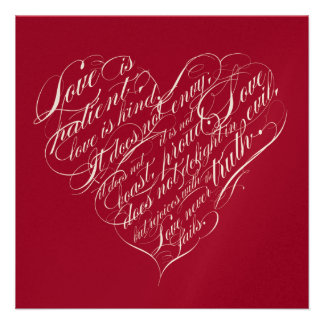Love is patient.. red champagne calligraphy heart custom invitation