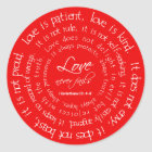 Love is Patient Red Christian Wedding Stickers