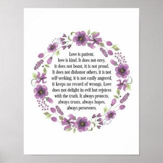 "Love is Patient Wedding Love Quote Poster 11 x 14"""
