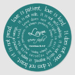 Love is Patient White on Teal Christian Wedding Round Sticker