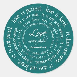 Love is Patient White on Teal Christian Wedding Round Sticker