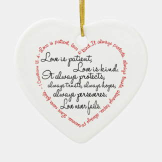 Love Is Patient Word Heart Ceramic Heart Decoration
