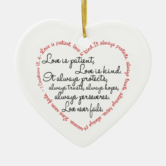 Love Is Patient Word Heart Christmas Ornament