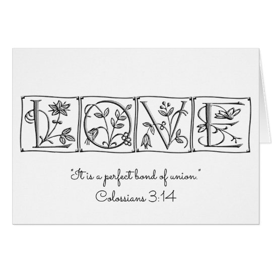 Love is Perfect Bond of Union~Scripture~Wedding Card