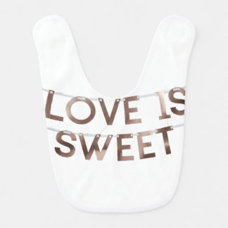 love is sweet baby bib
