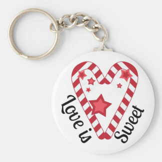 Love Is Sweet Basic Round Button Key Ring