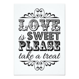 Love Is Sweet - Black & White Wedding Sign 13 Cm X 18 Cm Invitation Card