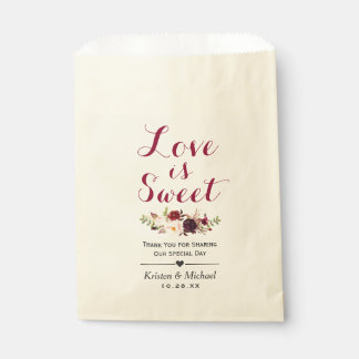 Love is Sweet Burgundy Floral Wedding Favor Favour Bags