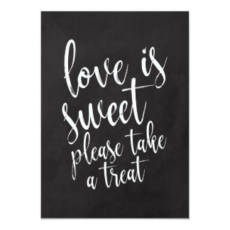 Love is Sweet Chalkboard Wedding Favors Sign Card