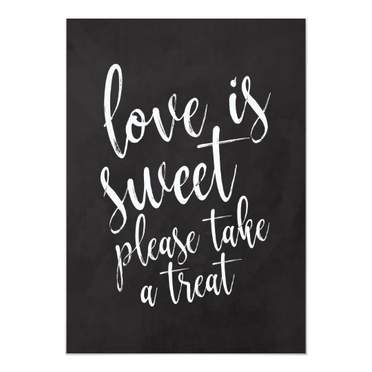 Love is Sweet Chalkboard Wedding Favours Sign Card