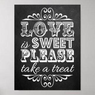 Love Is Sweet - Chalkboard Wedding Sign