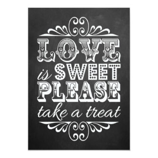 Love Is Sweet - Chalkboard Wedding Sign 13 Cm X 18 Cm Invitation Card
