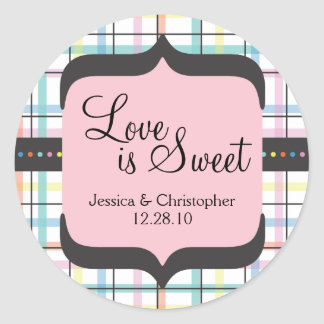 Love is Sweet - Colourful Plaid Round Sticker