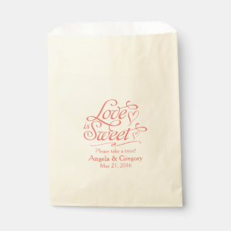 Love is Sweet Coral Candy Dessert Buffet Wedding Favour Bags