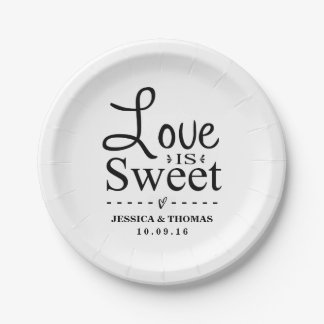 Love Is Sweet! Custom Black & White Wedding Paper Plate
