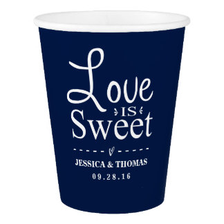 Love Is Sweet! Custom Navy Blue Wedding Paper Cup
