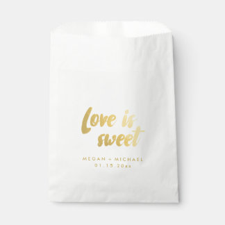 """Love is sweet"" Favor bag gold text"
