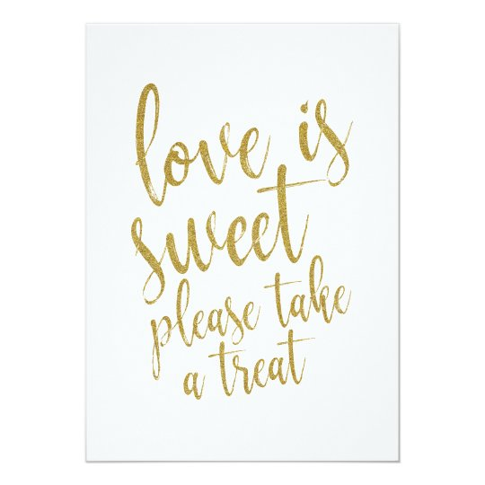 Love is Sweet Gold Glitter Affordable Wedding Sign