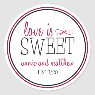 Love Is Sweet Labels Berry Black Round Stickers