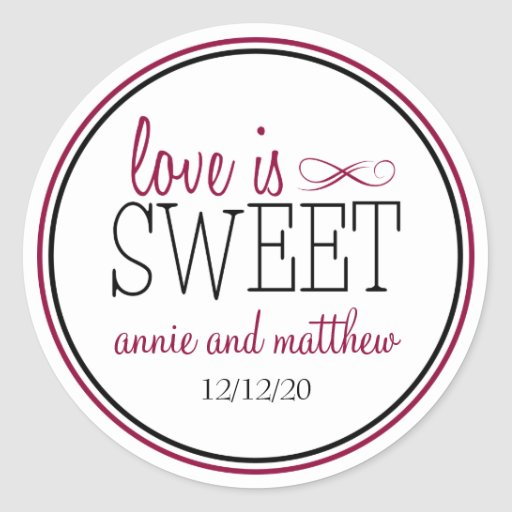 Love Is Sweet Labels (Berry / Black) Round Stickers