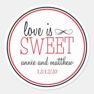Love Is Sweet Labels (Black / Red) Round Sticker