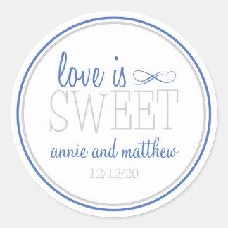 Love Is Sweet Labels Blue Silver Round Sticker