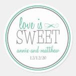 Love Is Sweet Labels (Dark Green / Grey) Round Sticker