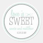 Love Is Sweet Labels (Green / Grey) Round Sticker