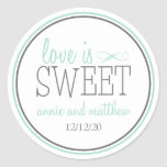 Love Is Sweet Labels (Green / Grey) Round Stickers