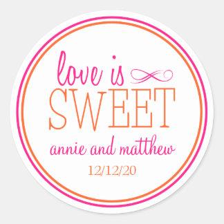 Love Is Sweet Labels (Hot Pink / Orange) Round Sticker