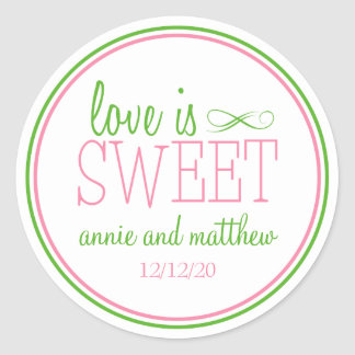 Love Is Sweet Labels Pink Mint Green Round Stickers