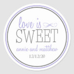 Love Is Sweet Labels (Purple / Grey) Round Stickers