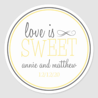 Love Is Sweet Labels (Yellow / Gray)