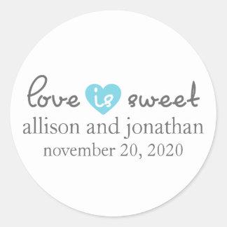 Love Is Sweet Modern Heart Labels (Gray / Blue)