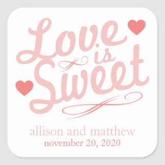 Love Is Sweet Old Fashioined (Blush / Red) Square Sticker