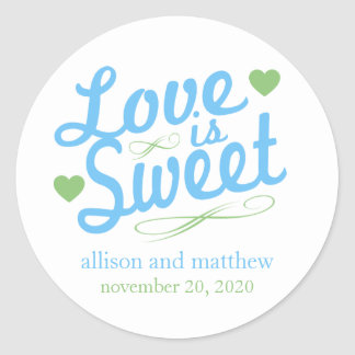Love Is Sweet Old Fashioined Labels (Blue / Mint)