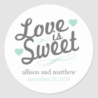 Love Is Sweet Old Fashioined Labels (Gray / Mint) Round Sticker