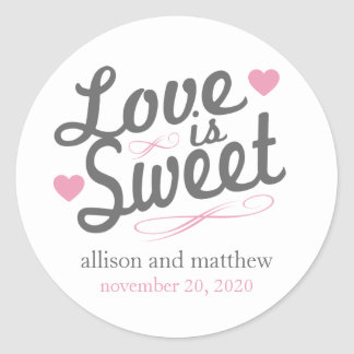 Love Is Sweet Old Fashioined Labels (Gray / Pink)